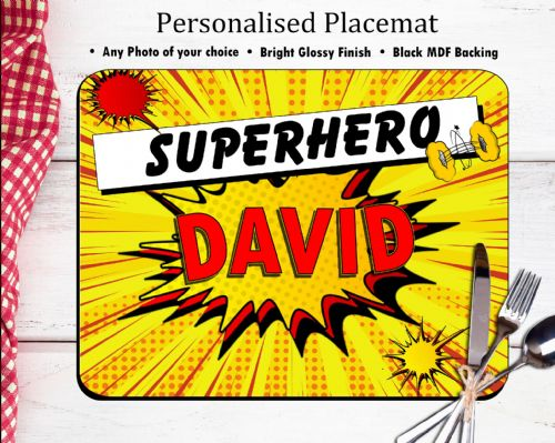 Personalised Placemat Dinner Table Mat N17 - Superhero Comic Style